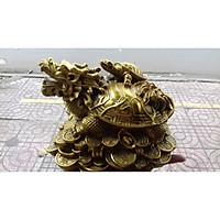 Long Quy cõng rùa con lớn cao 20cm bằng đồng