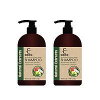 Dầu gội dược liệu giảm rụng tóc chiết xuất sả chanh, bưởi Ecoco 336g - Combo 2 chai