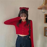 Áo croptop nữ dài tay phối khuy chất cotton tăm YAN
