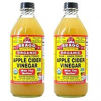 Combo 2 chai giấm táo BRAGG Hữu cơ Nhập khẩu USA chai 473ml siêu tiết kiệm