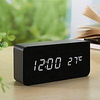 Đồng hồ gỗ LED AIWAN để bàn đo thời gian, nhiệt độ phòng hiện đại, tiện dụng hình chữ nhật - Tặng pin.