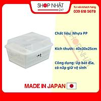 Rổ úp bát đĩa có nắp Inomata nội địa Nhật Bản