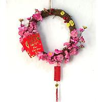 Vòng  hoa đào hồng dâu trang trí tết H01