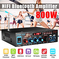 220V 800W bluetooth Amplifier 800W 2CH Home/Car Stereo Remote control Amplifier DJ Mic Receiver Tuner System for Home Amplifier Car