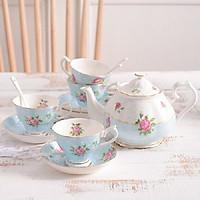 Bộ ấm trà to hồng xanh 13 món 5115