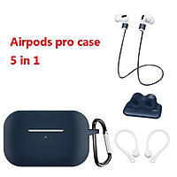 Earphone Protective Case for AirPods Pro Soft Silicone Shell+Carabiner+Anti-lost Strap+Ear Hook+Watch Buckle