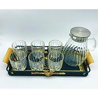 Bộ bình đựng nước kèm 6 ly thủy tinh cao cấp chịu nhiệt  ( 1 bình + 6 cốc không bao gồm khay )- VD44