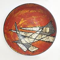 Đĩa gốm sơn mài trưng bày - Đĩa gốm sứ Bát Tràng, Vỏ trứng , bạc trên nền sơn mài, đẹp - độc - lạ, sang trong và hiện đại
