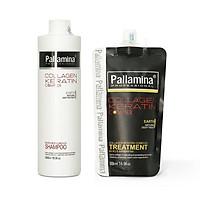 Combo gội ủ Collagen Keratin Pallamina siêu mượt cho tóc khô hư tổn 500ml