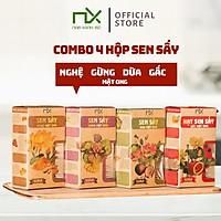 COMBO 4 HỘP SEN SẤY PHỦ VỊ MẬT ONG 65G/100G NAM XANH ( DỪA, NGHỆ, GẤC, GỪNG)