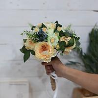 Bó hoa giả cầm tay cô dâu chùm hoa Trà Nhị Đen mix