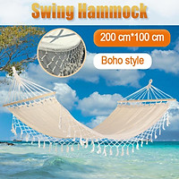160KG Capacity Garden Yard Sea Camping Hammock Fringe Cotton Rope Canvas Macrame Swing Net Hanging