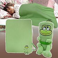 Chăn đắp bông mềm siêu sáng tạo cho bé (70x90cm) - Hình ếch xanh vui nhộn