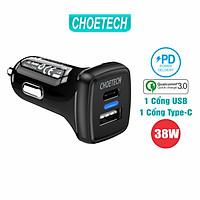 Củ Sạc Điện Thoại Ô Tô 38W CHOETECH TC0005 V2 USB Quick Charge 3.0 18W, Type-C PD 20W - Hàng Chính Hãng