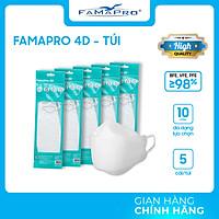 [TÚI - FAMAPRO 4D] - Khẩu trang y tế kháng khuẩn cao cấp Famapro 4D tiêu chuẩn KF94 (5 cái/ túi)