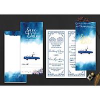 thiệp cưới, thiệp cưới túi đứng giá rẻ, thiệp cưới màu xanh