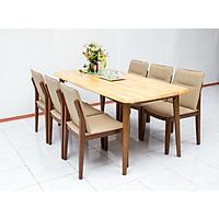 Bộ bàn ăn 4 ghế Nội Thất Nhà Bên NAN 04 (Nâu)
