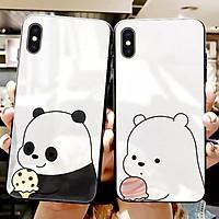 Ốp kính cường lực cặp đôi gấu Dành Cho iphone 6 s plus 7 8 plus Xr X s max 11 11 pro max 12 mini 12 pro max se2