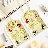 Túi gấm Omamori tiền tài ước nguyện vàng nhạt có kèm túi chống nước Túi Phước May Mắn dây treo trang trí
