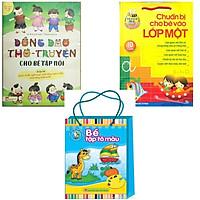 Combo Đồng dao thơ truyện cho bé tập nói + Chuẩn bị cho bé vào lớp một 10c  + Bé tập tô màu mẫu giáo ( bộ 8 quyển )