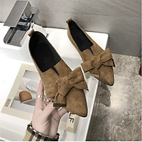 Giày búp bê nữ đế bằng da lộn đính nơ xinh xắn hàng cao cấp-OD14