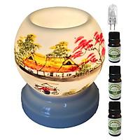 3 tinh dầu quế Eco 10ml và đèn xông tinh dầu MNB07 và 1 bóng đèn
