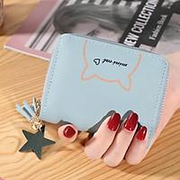 [6 màu] Ví ngắn nữ khóa kéo gấp 2 nhỏ gọn mini cat VNLV232B cầm tay bỏ túi tiện lợi