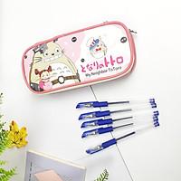 [Combo] Hộp Bút Totoro Xinh Xắn Và 5 Bút Bi Văn Phòng Tiện Lợi - màu hồng