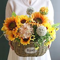 Hoa Giả - Giỏ Hoa Hướng Dương Camelia Decor Cao Cấp, Sản Phẩm Như Hình, Phong Cách Châu Âu, Trang Trí Cực Sang Trọng