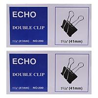 Bộ 2 Hộp Kẹp Bướm Echo (41mm) - Đen ( 12 Kẹp/Hộp)