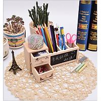 Hộp đựng bút gỗ 3 ngăn để bàn kèm bảng ghi nhớ, hộp đựng đồ dùng 3 ngăn 2 tầng thông minh có bảng ghi nhớ