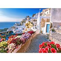 Tranh ghép hình 1000 mảnh 2cm khổ 54×74 – Tranh xếp hình Puzzle cao cấp Oia village, Santorini