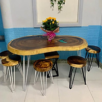 Ghế đôn mặt tròn gỗ me tây nguyên tấm