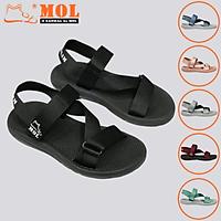 Giày sandal unisex nam nữ quai chéo vải dù đế mõng Slim có quai hậu cố định hiệu MOL mang đi học du lịch MS1166B