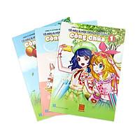 Bộ 3 quyển vở tô màu và học tiếng anh cùng công chúa Hồng Hà - Quyển 1, 2, 3