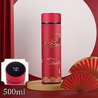 Bình giữ nhiệt 4 lớp hiển thị nhiệt độ họa tiết cung đình Trung Hoa TiLoKi TGN 05 dung tích 500ml (giao ngẫu nhiên)