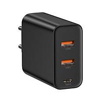 Củ sạc siêu nhanh Baseus công xuất 60W Sạc Nhanh Quick Charge PD3.0+ QC3.0 - 2 cổng USB , 1 Type C Cho iPhone Xiaomi Samsung Huawei - Hàng chính Hãng