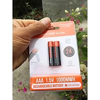 Vỉ 2 viên Pin tiểu sạc AAA 1.5V 1000mWh cao cấp sạc nhanh trực tiếp bằng cổng micro USB không cần bộ sạc
