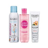 Bộ 3 sản phẩm cấp ẩm dưỡng da và tẩy tế bào chết dành cho mặt Evoluderm ( xịt khoáng Evoluderm và nước hoa hồng Evoluderm và tẩy tế bào chết mặt đào Evoluderm)