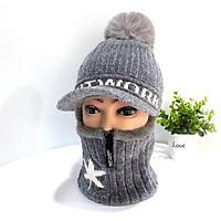 Mũ len nữ liền khăn cổ vải nhung lót lông bên trong ấm quả bông chìa mũ chống nắng hanh mùa đông