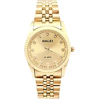 Đồng Hồ Nam Halei HLL356 Dây vàng (Tặng pin Nhật sẵn trong đồng hồ + Móc Khóa gỗ Đồng hồ 888 y hình + Hộp Chính Hãng+ Thẻ Bảo Hành)