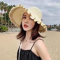 Mũ Chống Nắng Nữ Mùa Hè, Mũ Rơm Có Nơ Vành Lớn Thời Trang Có Thể Gập Lại Mũ Đi Biển Chống Nắng Ngoài Trời Cho Nữ Mũ Bảo