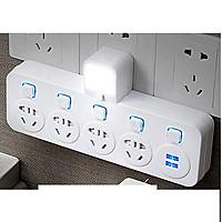 Ổ cắm điện có chân sạc đa năng và nút nguồn theo từng ổ có đèn báo có thẻ làm đèn ngủ