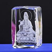 Tượng Phật Quan Âm 8 CM pha lê khắc 3D sang trọng không kèm đế đèn tự bạn thiết kế