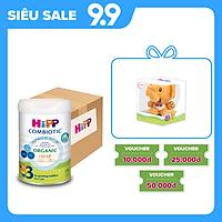 Thùng 4 lon sữa bột dinh dưỡng công thức HiPP 3 Organic Combiotic chất lượng hữu cơ tăng cường sức khoẻ hệ miễn dịch, bổ sung Canxi và vitamin D dành cho trẻ trên 12 tháng tuổi (4 lon x 800g)