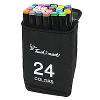 Hộp 24 Bút Lông Màu Touch 2 Đầu Thân Đen 3-90-24