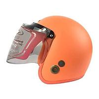 Mũ Bảo Hiểm Đẹp 3/4 lót màu Cam lót cam N033 có kính _ Mũ bảo hiểm phượt có kính chắn gió, chống bụi_ Kèm kính màu ngẫu nhiên