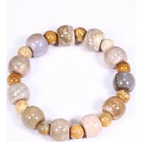 Vòng tay đá san hô hóa thạch viên hình trống đa sắc 15x10.5mm - Ngọc Quý Gemstones