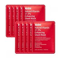 Combo 10 Mặt nạ giấy dưỡng trắng da làm mờ vết thâm By Wishtrend Natural Vitamin C 21.5 Enhancing Sheet Mask 23g x10