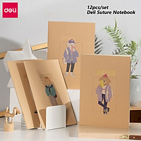 Deli 12pcs Simple Notebook Set Kraft Paper Cover Cute Cartoon Pattern School A4 Note Book Student Exercise Notepad Journey Record Books 40 Sheets Beige Inner Page Office Diary Handbook Stationery Supply